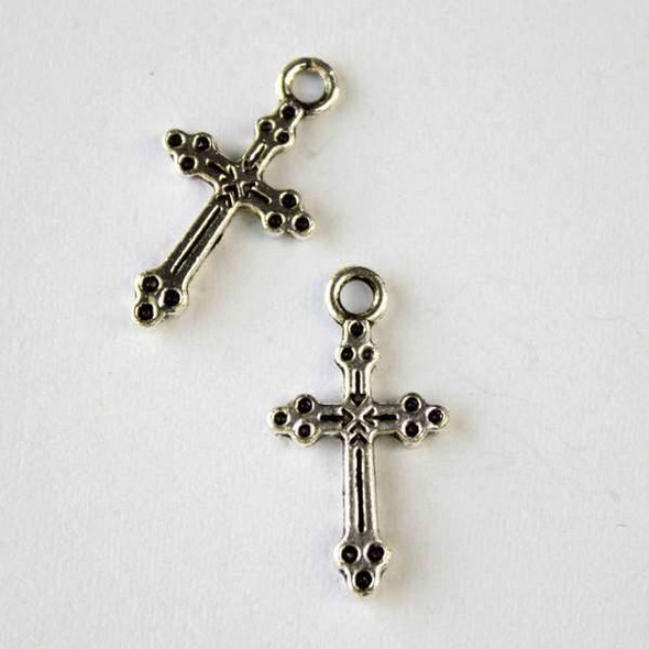 Silver Pewter 12x21mm Rosary Cross Charm - 10 per bag