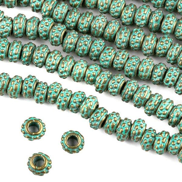 Green Bronze Colored Pewter 4x7mm Dotted Tube Bead approx. 8 inch strand - CTB00994gb