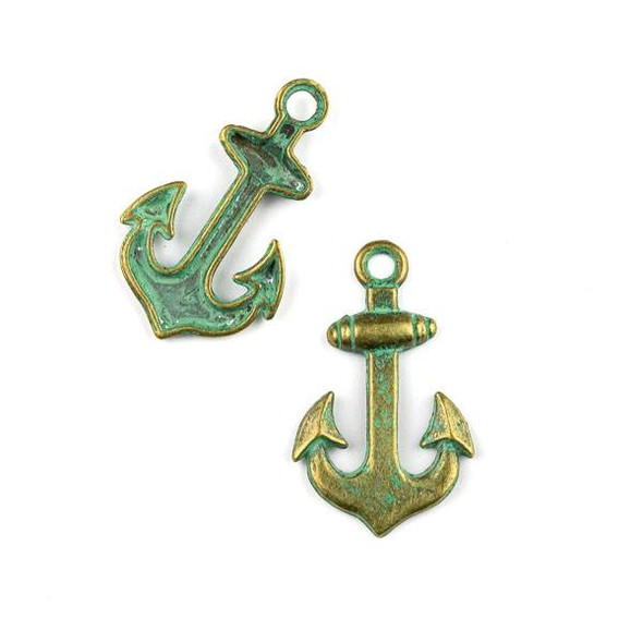 Green Bronze Colored Pewter 20x33mm Anchor Charms - 2 per bag