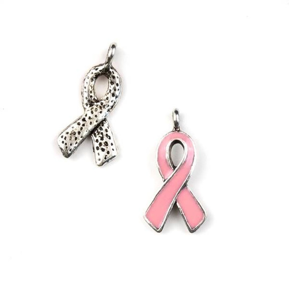 Silver Pewter 11x21mm Pink Enameled Ribbon Charm with a Dotted Back - 10 per bag