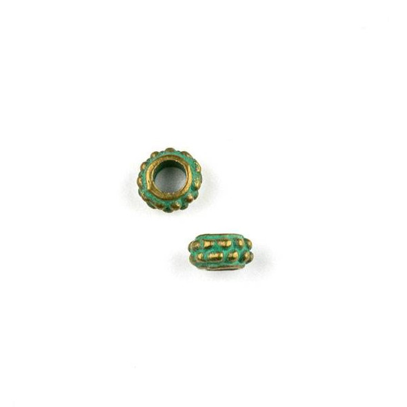 Green Bronze Colored Pewter 4x7mm Bumpy Rondelle Spacer Beads with 2.5mm Large Hole - 10 per bag