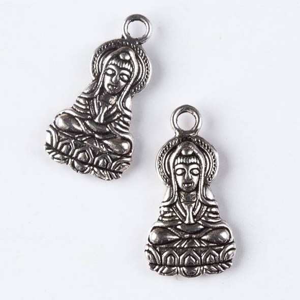 Silver Pewter 14x26mm Kuan Yin Goddess of Mercy and Compassion Double Sided Charm - 10 per bag