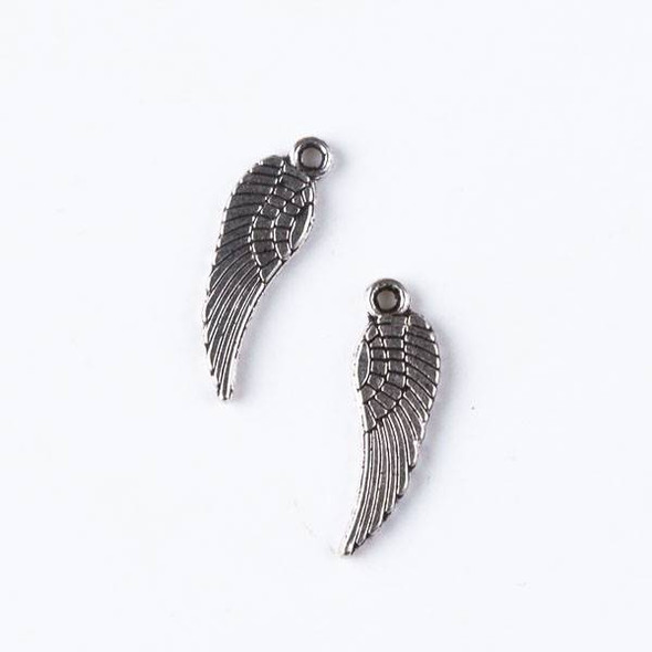 Silver Pewter 5x16mm Small Wing Charm - 10 per bag