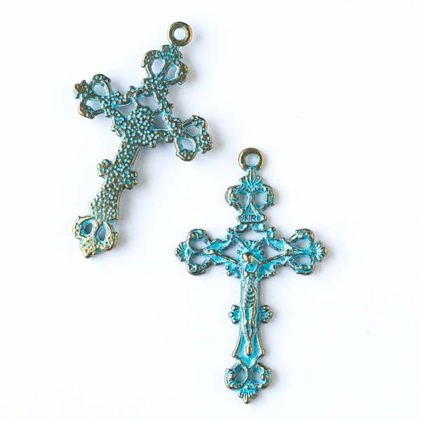 Green Bronze Colored Pewter 26x43mm Rosary Cross Charm - 10 per bag