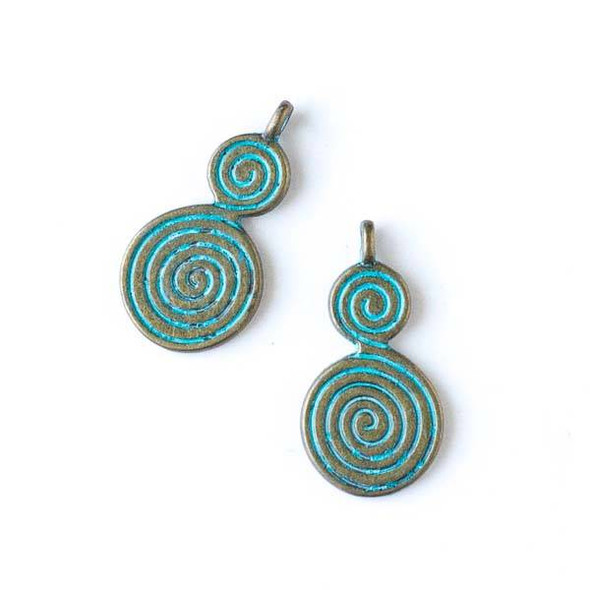 Green Bronze Colored Pewter 14x27mm Double Swirl Charm - 10 per bag