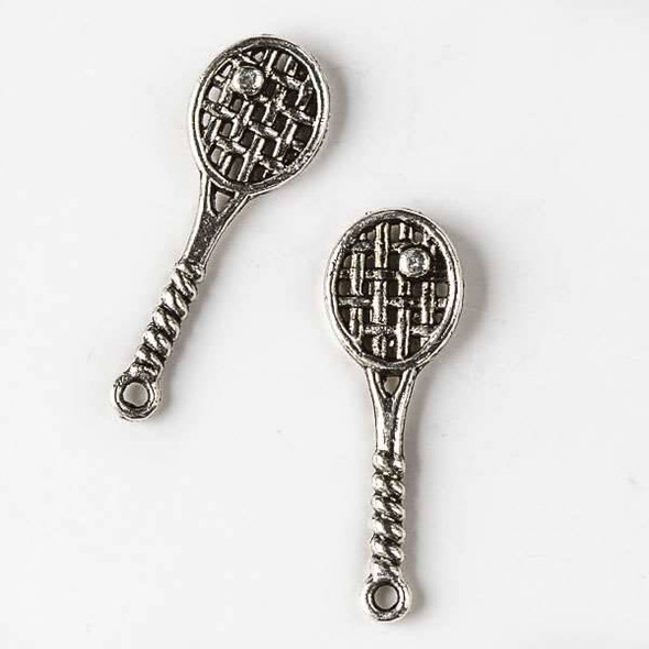 Silver Pewter 10x29mm Tennis Racket with Ball Charm - 10 per bag