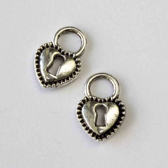 Silver Pewter 12x17mm Heart Lock Charm - 10 per bag