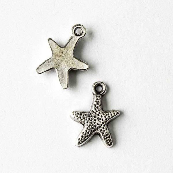 Silver Pewter 12x17mm Starfish Charm with a flat back - 10 per bag