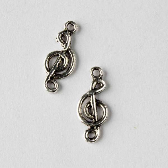 Silver Pewter 8x19mm G Cleft Music Charm - 10 per bag