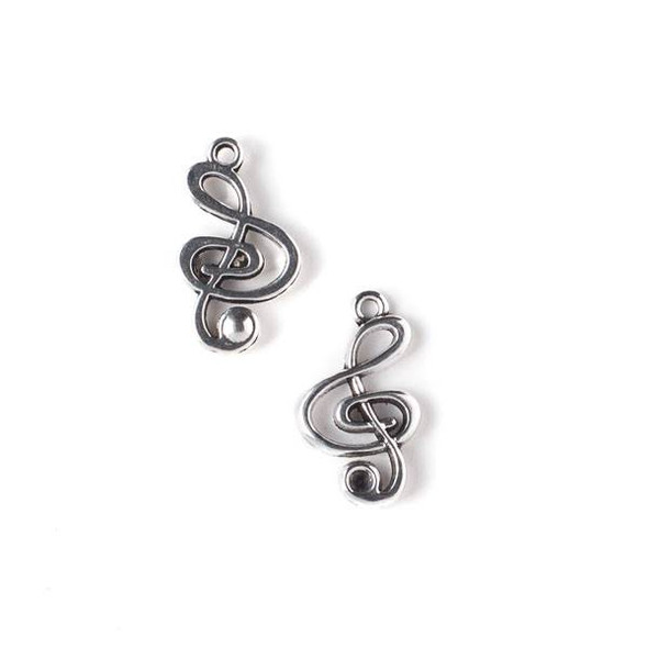 Silver Pewter 15x25mm Treble Clef Music Charm - 10 per bag