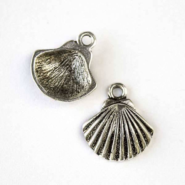 Silver Pewter 16x18mm Scallop Shell Charm - 10 per bag