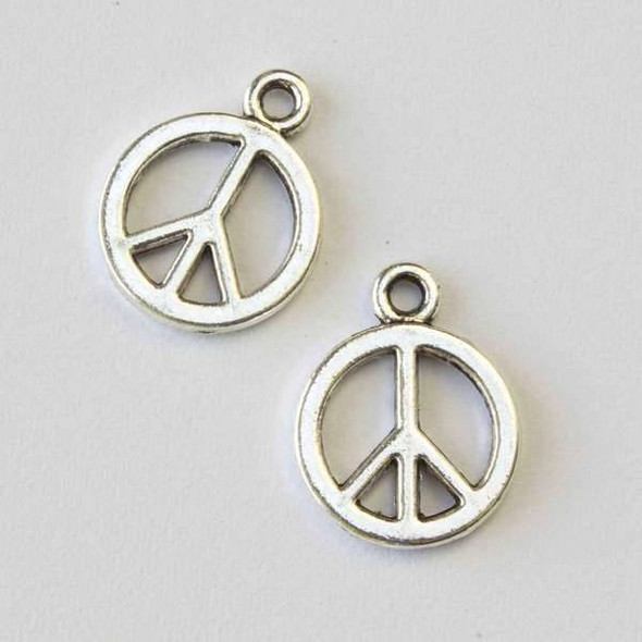 Silver Pewter 14x18mm Peace Sign Charm - 10 per bag