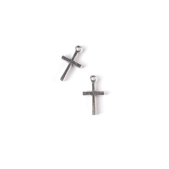 Silver Pewter 10x18mm Cross Charm - 10 per bag