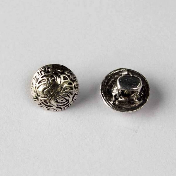 Silver Pewter 11mm Round Button with a Swirled Design - 10 per bag