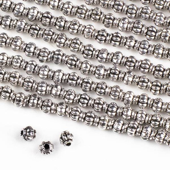 Silver Pewter 4mm Pumpkin Beads - approx. 8 inch strand - CTB005181s