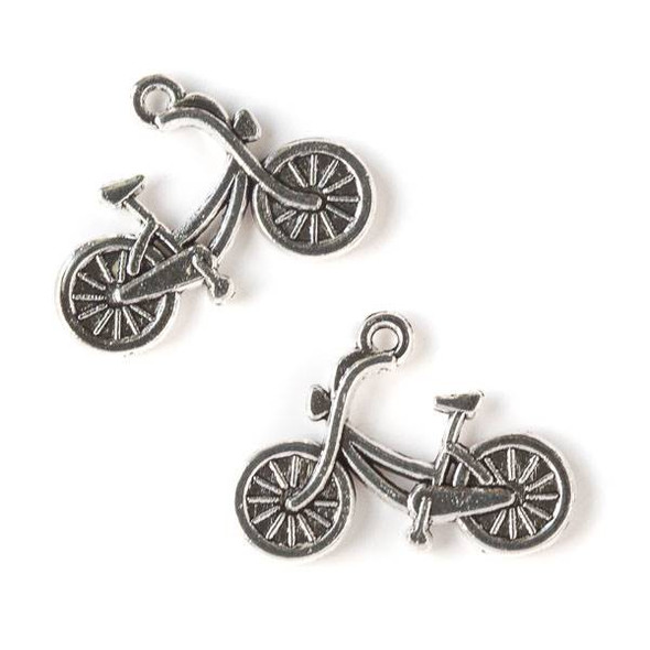 Silver Pewter 19x26mm Bicycle Charm - 10 per bag