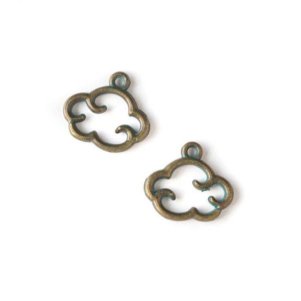Green Bronze Colored Pewter 13x14mm Cloud Charm - 10 per bag