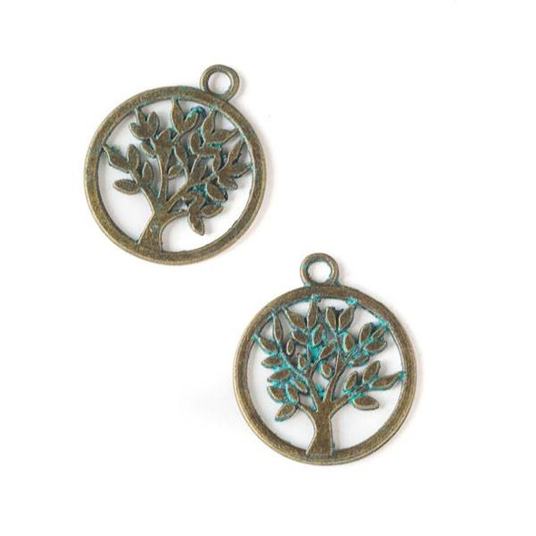 Green Bronze Colored Pewter 17x20mm Tree Charm - 10 per bag