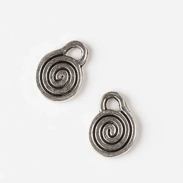 Silver Pewter 10x14mm Spiral Charm - 10 per bag