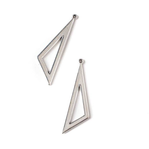 Silver Pewter 15x37mm Obtuse Triangle Charm - 10 per bag