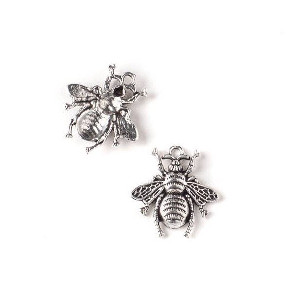 Silver Pewter 19x20mm Bee Charm - 10 per bag