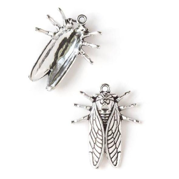Silver Pewter 22x28mm Cicada Bug Charm - 10 per bag