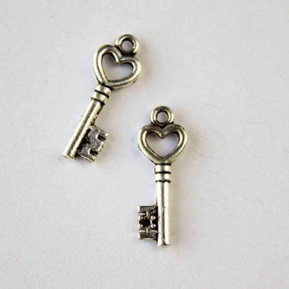 Silver Pewter 7x20mm Heart Key Charm - 10 per bag