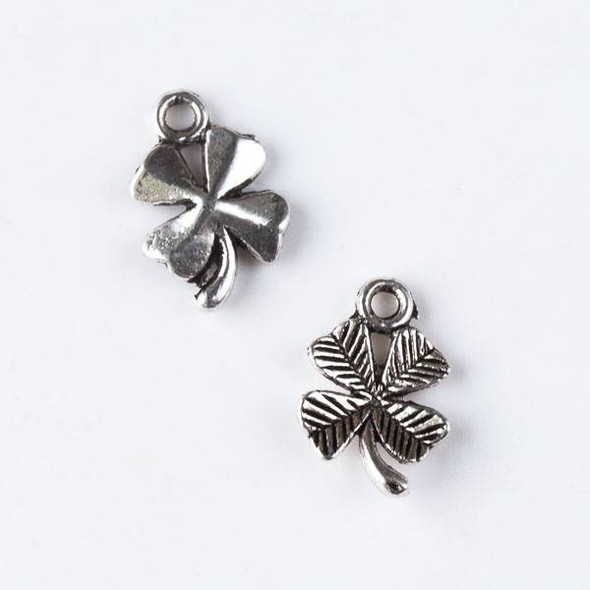 Silver Pewter 10x15mm Textured Four Leaf Clover Charm - 10 per bag