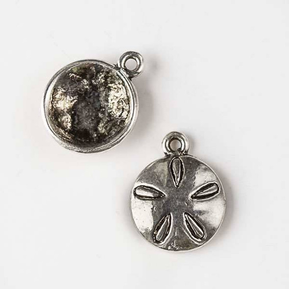 Silver Pewter 13x16mm Sand Dollar Charm - 10 per bag