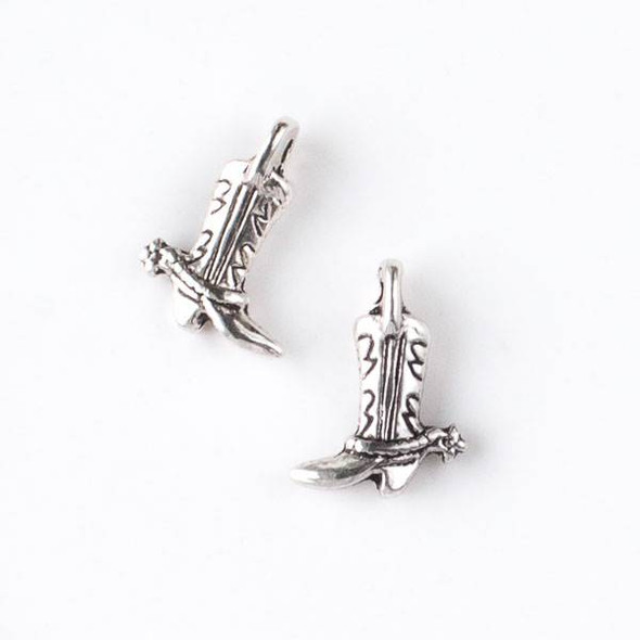 Silver Pewter 13x17mm Cowboy Boot Charm with Spur - 10 per bag
