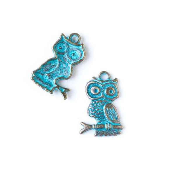 Green Bronze Colored Pewter 14x22mm Owl on a Branch Charm - 10 per bag