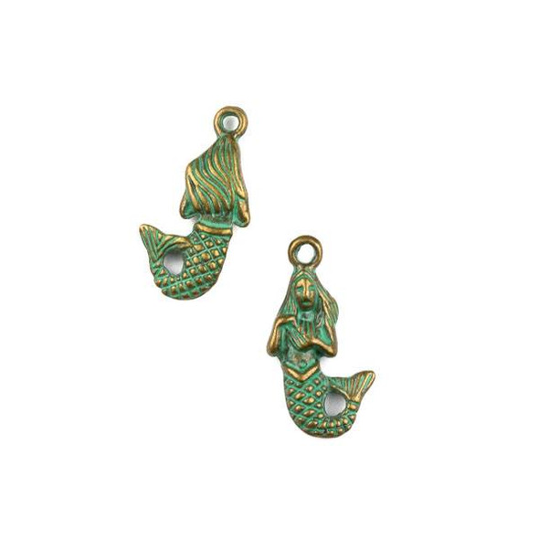 Green Bronze Colored Pewter 12x22mm Mermaid Charm - 10 per bag