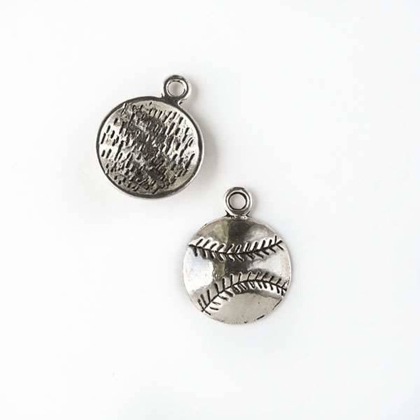 Silver Pewter 14x18mm Baseball Charm - 10 per bag
