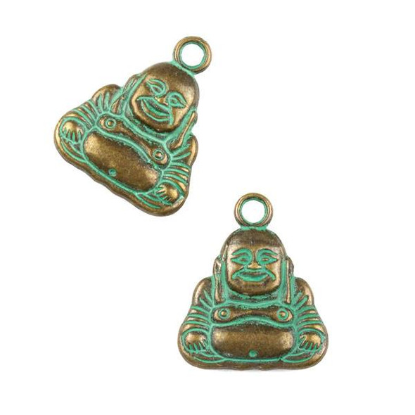 Green Bronze Colored Pewter 21x25mm Happy Buddha Charm - 6 per bag