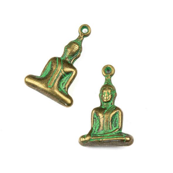 Green Bronze Colored Pewter 23x35mm Sitting Buddha Charm - 4 per bag