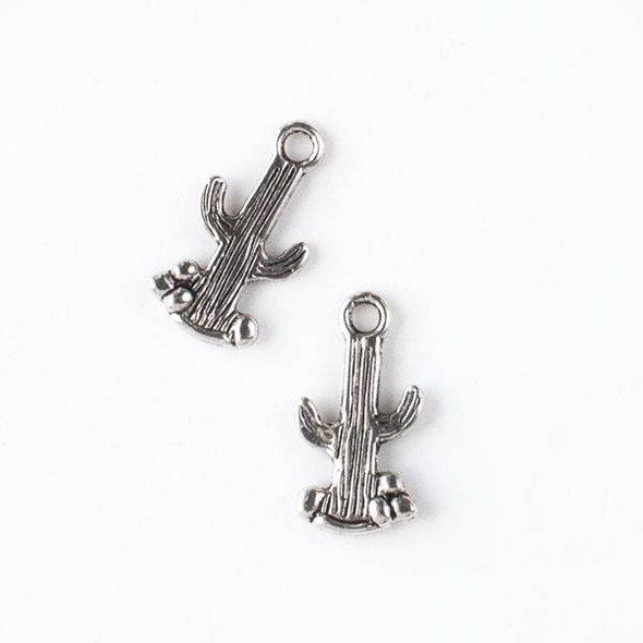 Silver Pewter 10x19mm Cactus Charm - 10 per bag