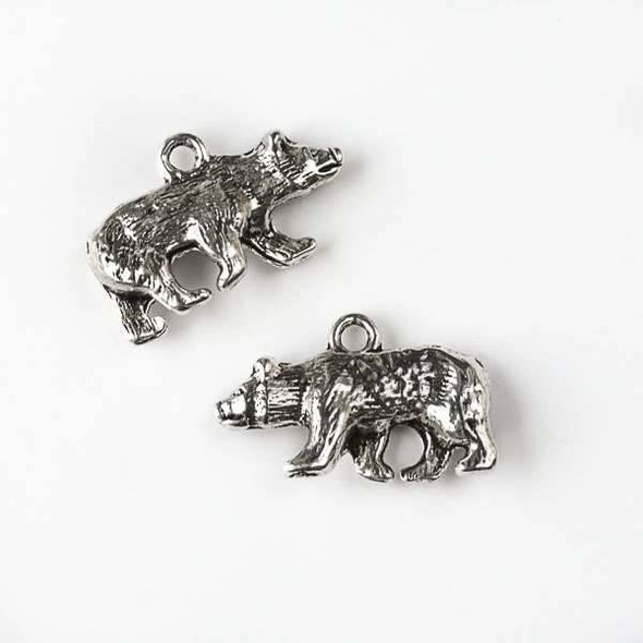 Silver Pewter 14x24mm Wild Bear Charm - 6 per bag