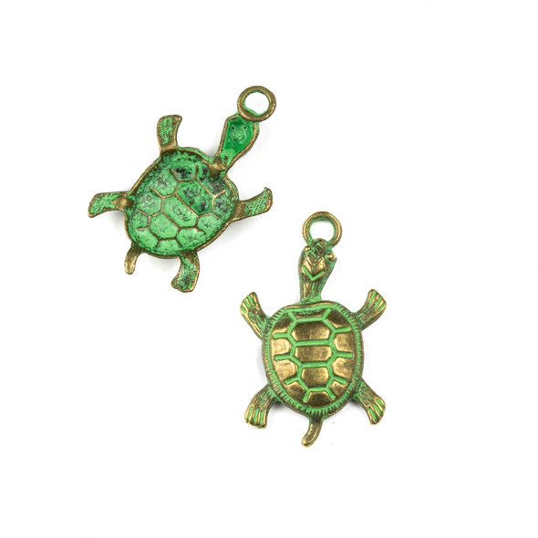 Green Bronze Colored Pewter 21x35mm Turtle Charm - 10 per bag