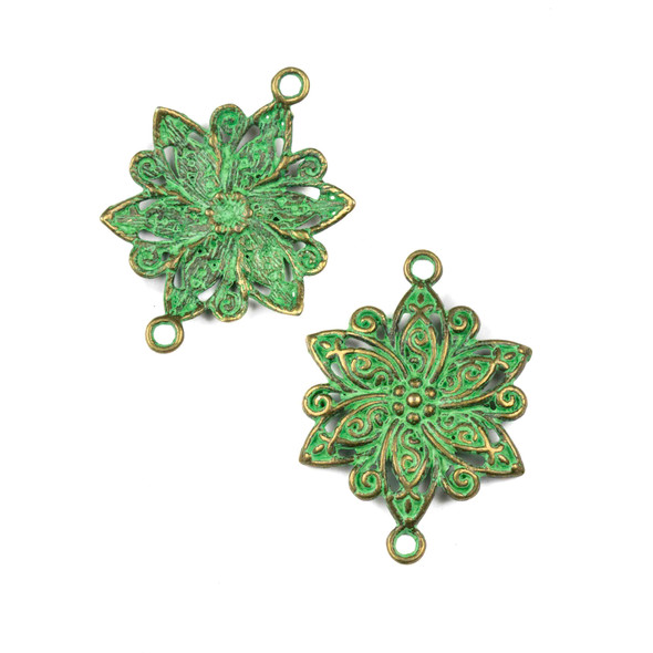 Green Bronze Colored Pewter 28x39mm Flower Link Charm - 10 per bag
