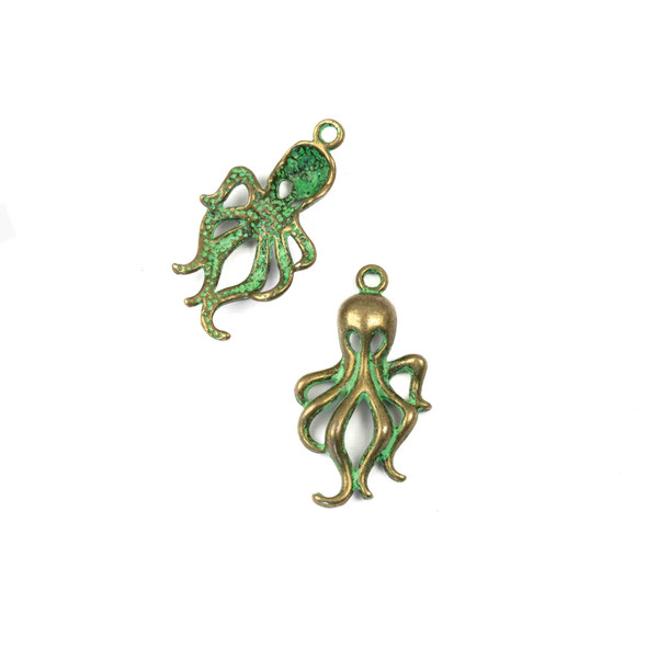Green Bronze Colored Pewter 17x32mm Octopus Charm - 10 per bag