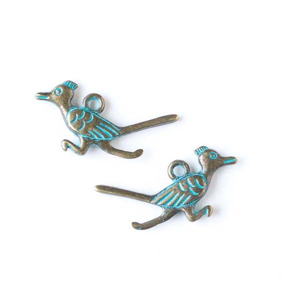 Green Bronze Colored Pewter 14x27mm Roadrunner Bird Charm - 10 per bag