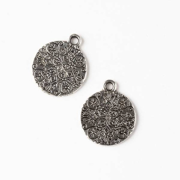 Silver Pewter 15x18mm Double Sided Mandala Coin Charm - 10 per bag