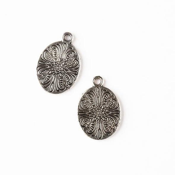 Silver Pewter 14x20mm Double Sided Oval Charm with Flower Print - 10 per bag