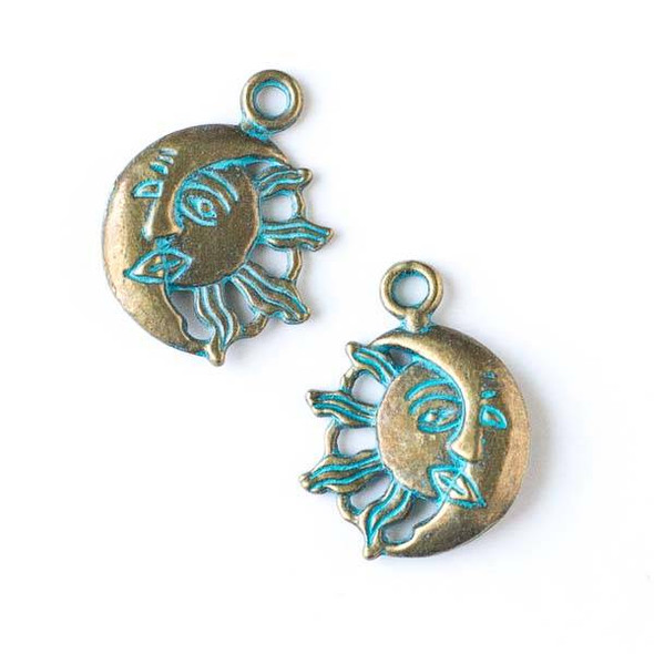 Green Bronze Colored Pewter 20x26mm Moon and Sun Charm - 10 per bag