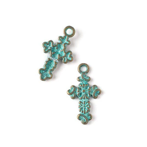 Green Bronze Colored Pewter 17x31mm Flower Cross Charm - 10 per bag