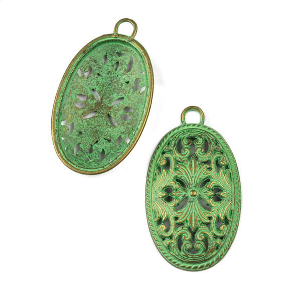 Green Bronze Colored Pewter 26x45mm Decorative Oval Charm - 6 per bag