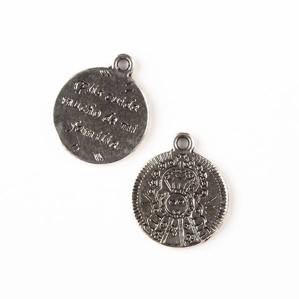 "Silver Pewter 18x21mm St. Joseph Coin Charm with Spanish translation ""Please Take Good Care of my Family"" - 10 per bag"