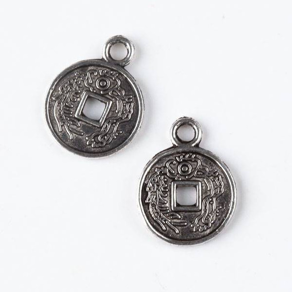 Silver Pewter 13x18mm Chinese Coin Charm - 10 per bag