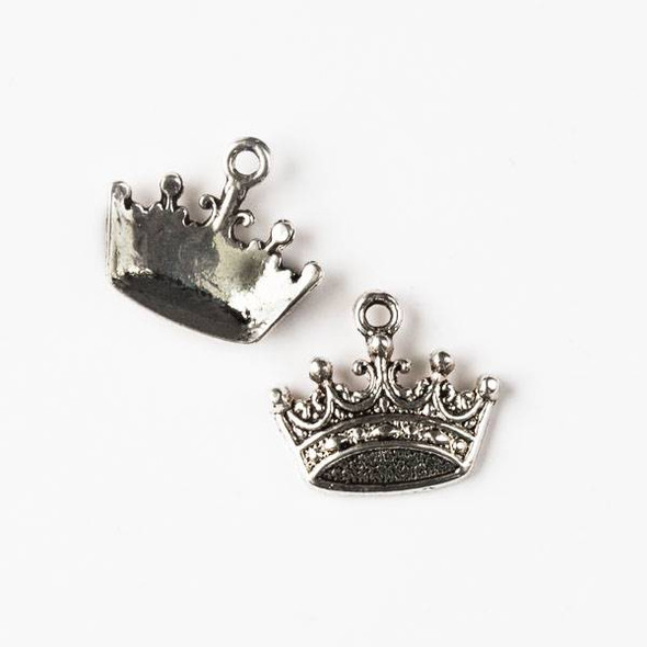Silver Pewter 16x18mm Princess Crown Charm - 10 per bag