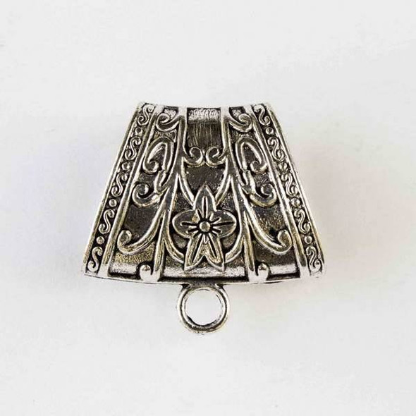 Silver Pewter 37x39mm Scarf Bail or Center Piece Pendant Drop with a Flower, Vines and Scrolls on the side and a 13x26mm Large Hole - 1 per bag
